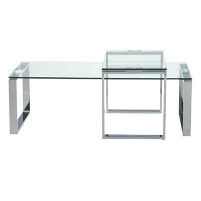 Debenhams Chrome And Glass Alberta Coffee And Side Table