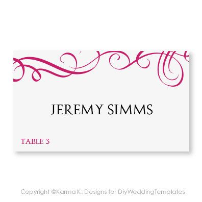 Place Card Template Download Instantly Editable Text Elegant