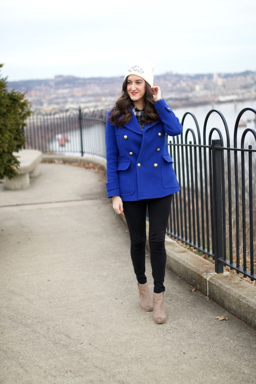 J.Crew Stadium Cloth Peacoat in cobalt blue. Paired with Pixie pants from J.Crew and BP Trolley booties. This is a simple, stylish and chic winter outfit idea. Stay warm and look dressed up!