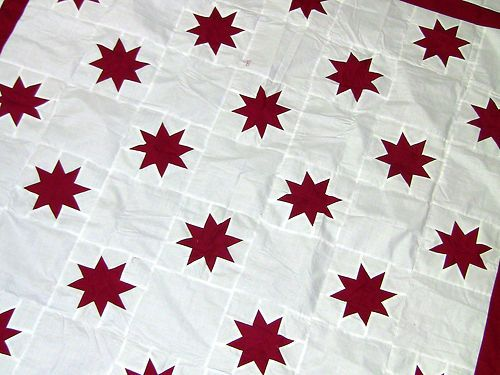 Incredible Patchwork Red White Star Field Quilt Top | eBay