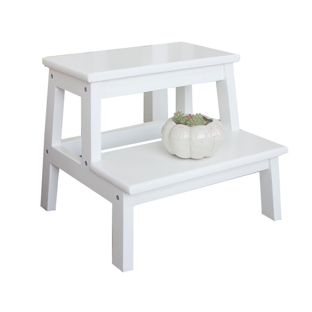 Wondrous Xuan Yuan White 2 Tread Step Stool For Adults And Kids Theyellowbook Wood Chair Design Ideas Theyellowbookinfo