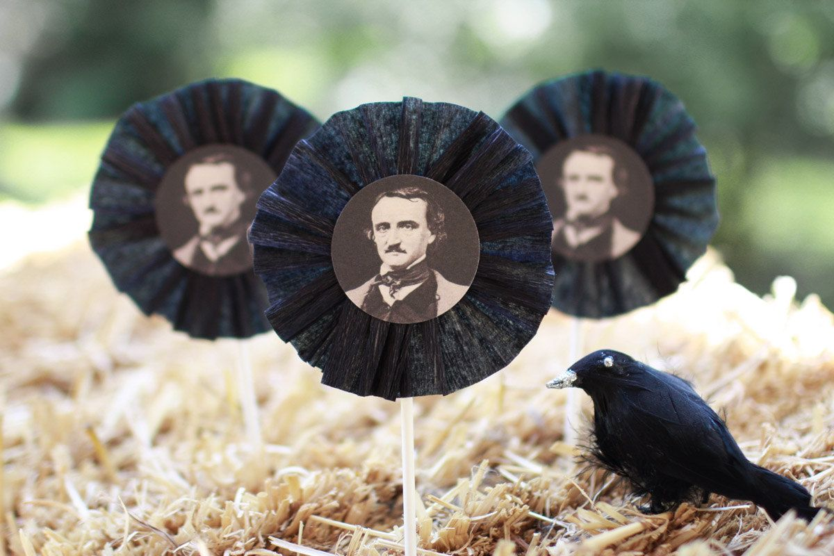 Halloween Edgar Allan Poe cupcake toppers - Set of six ...