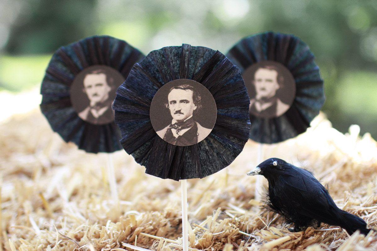 Halloween Edgar Allan Poe cupcake toppers - Set of six ...