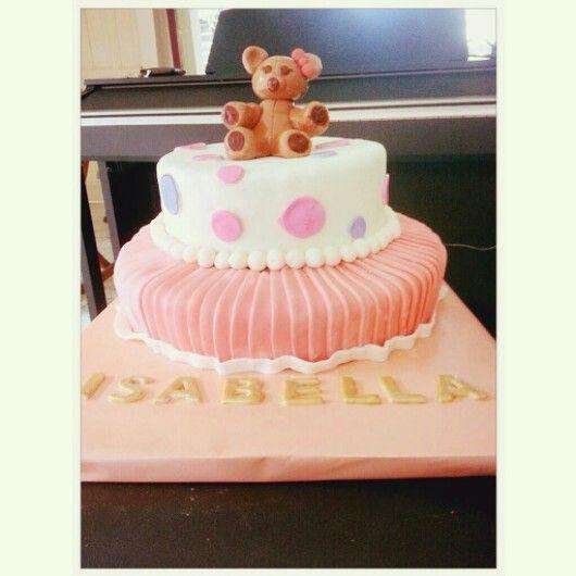 Torta para bautizo inspirada en el vestido de la niña a bautizar