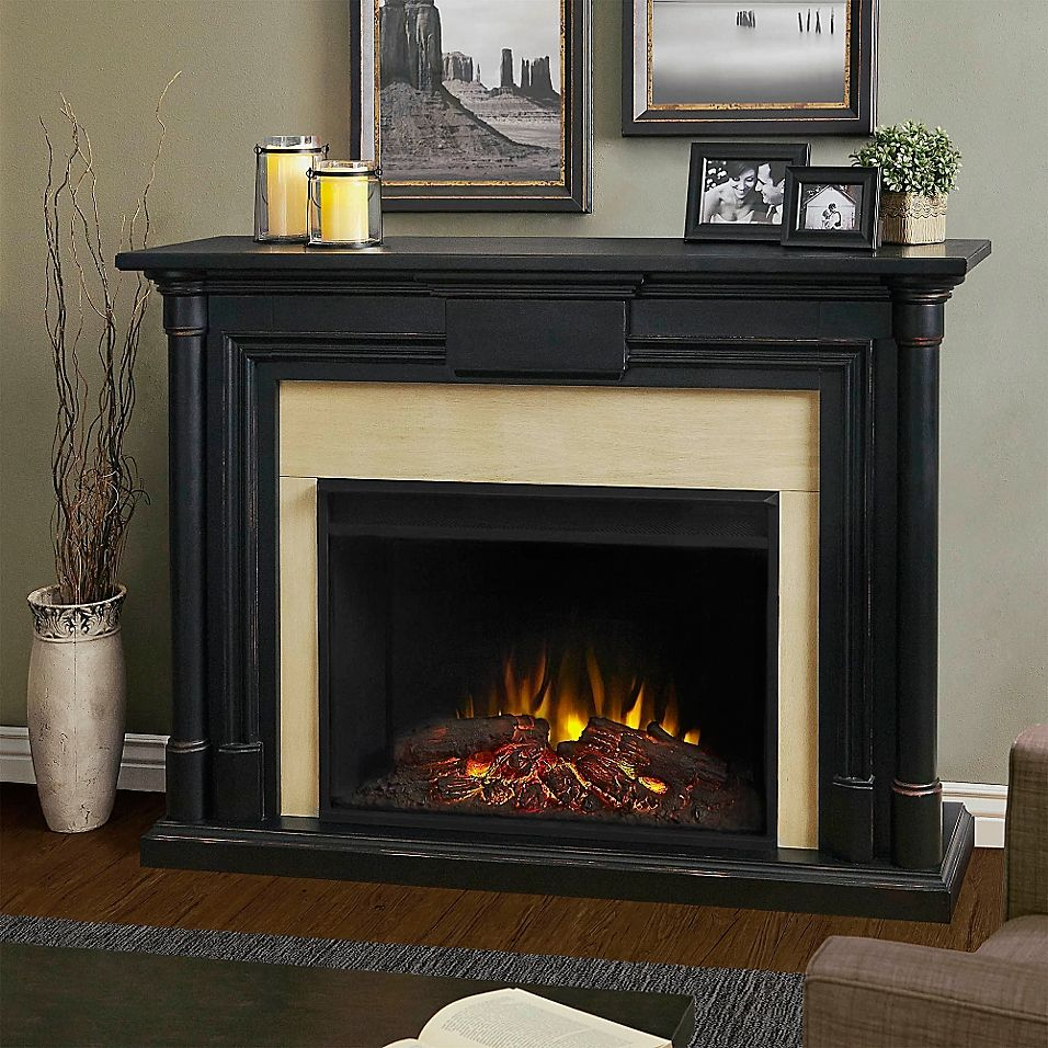 Real Flame Maxwell Freestanding Electric Fireplace In Black In