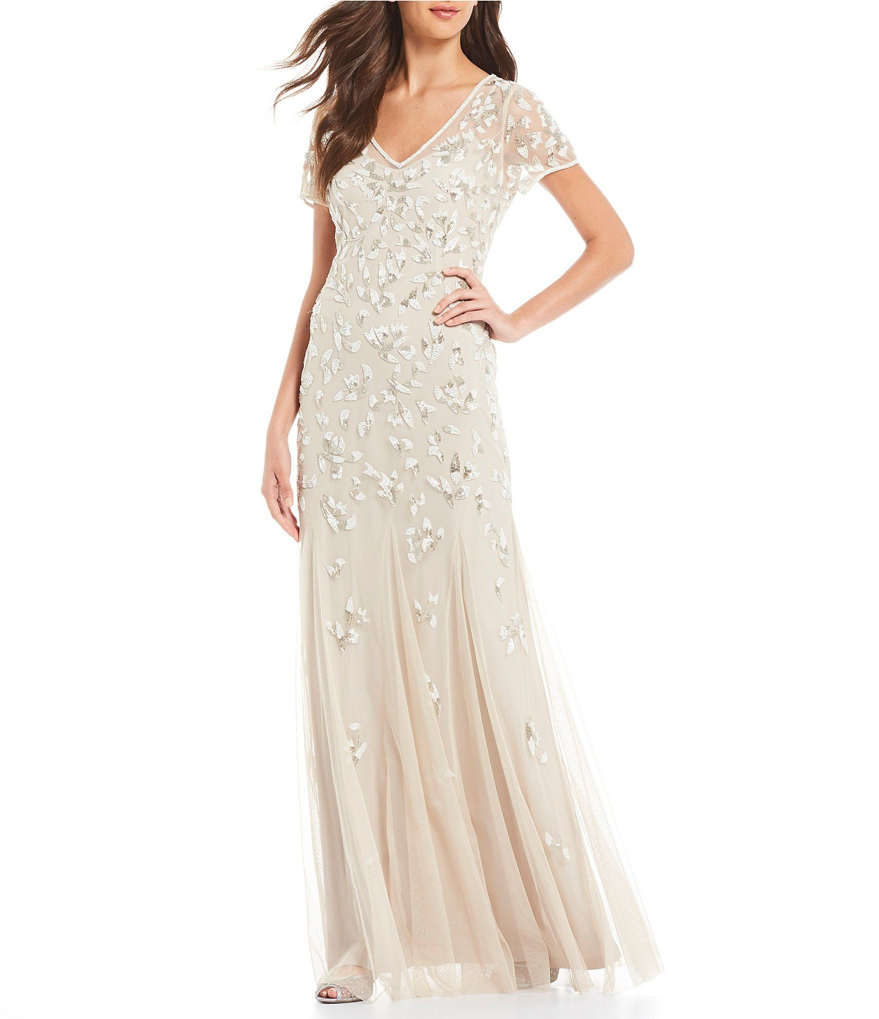 Shop For Adrianna Papell Illusion Mesh V Neck Beaded Gown At Dillards Com Visit Dillards Dillards Wedding Dresses Pretty Wedding Dresses Wedding Dress Gallery
