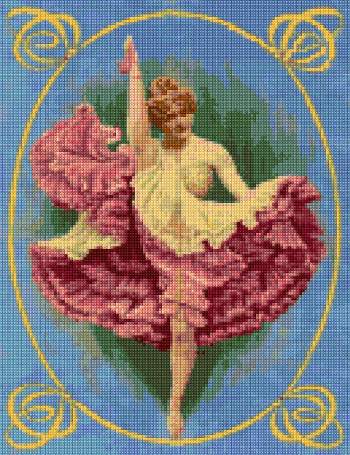 Cross stitch pattern Art Nouveau French CanCan dancer PDF - EASY chart with one color per sheet AND regular chart! Two charts in one! by HeritageCharts on Etsy