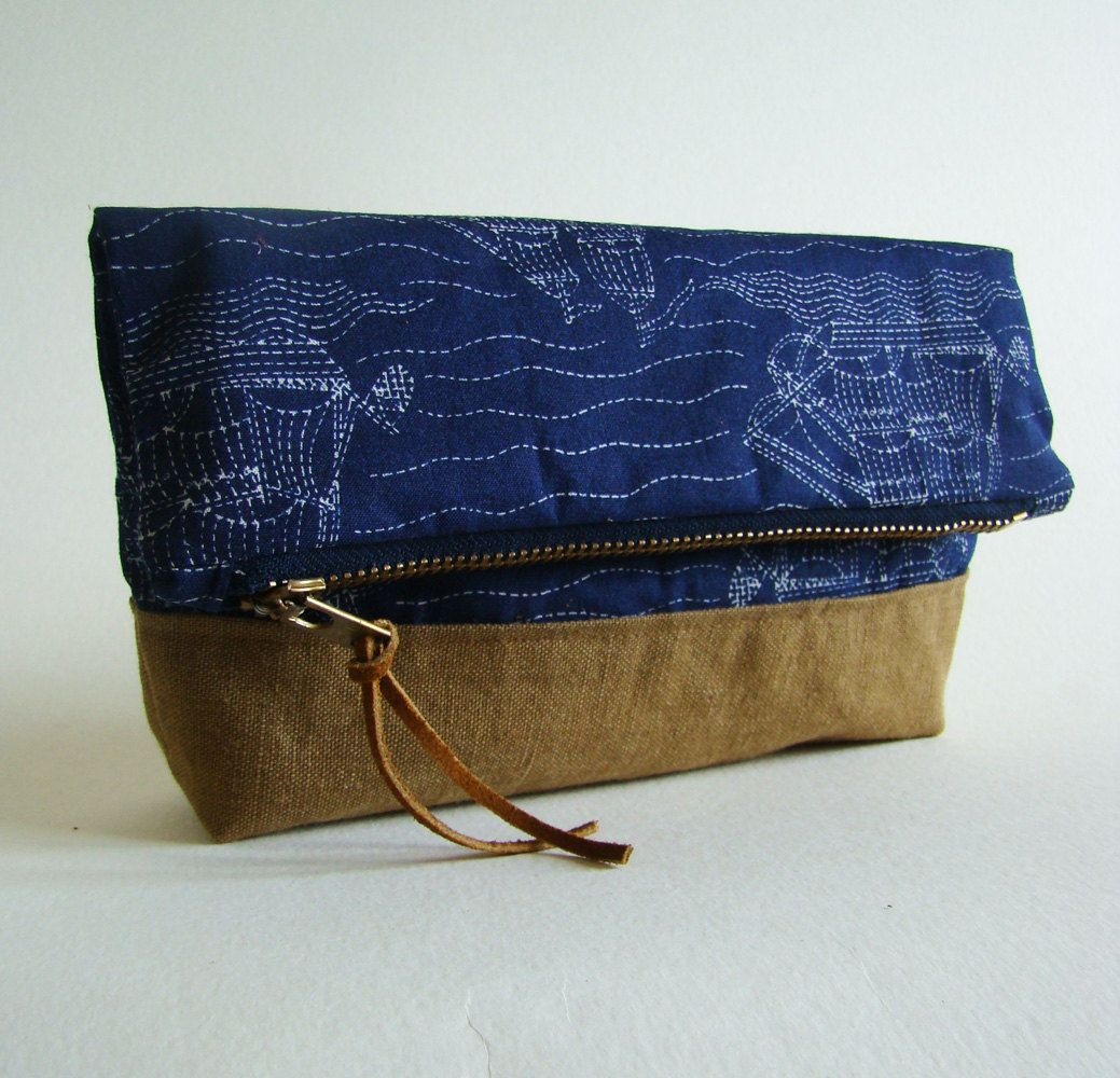 Pirate ship fold-over pouch