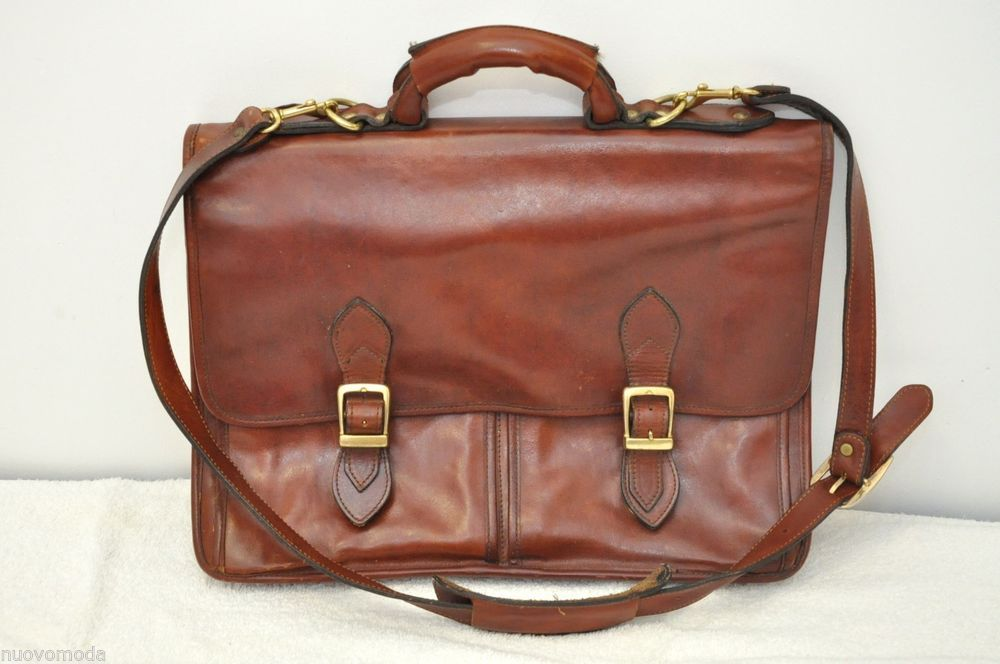 Vintage Late 1970s Cowhide Brown Leather Briefcace/Messenger/Laptop Shoulder Bag