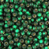 Miyuki 11/0 (2mm) Matte Silver-Lined Dark Emerald glass seed beads, colour number 27F, a frosted deep green. UK seller.
