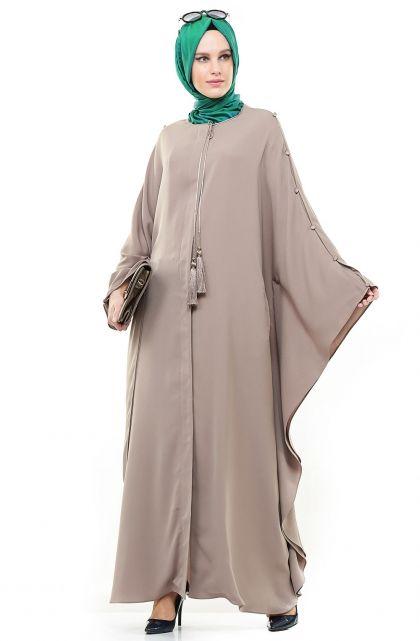 Kayra Yarasa Kollu Ferace Bej Ka B4 25027 52 E Tesettur Com Tr Abaya Tarzi Islami Moda Kiyafet