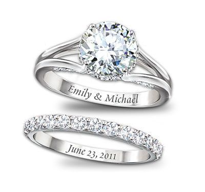 Diamond Rings With Name Written Inside Wedding Wishes Bells