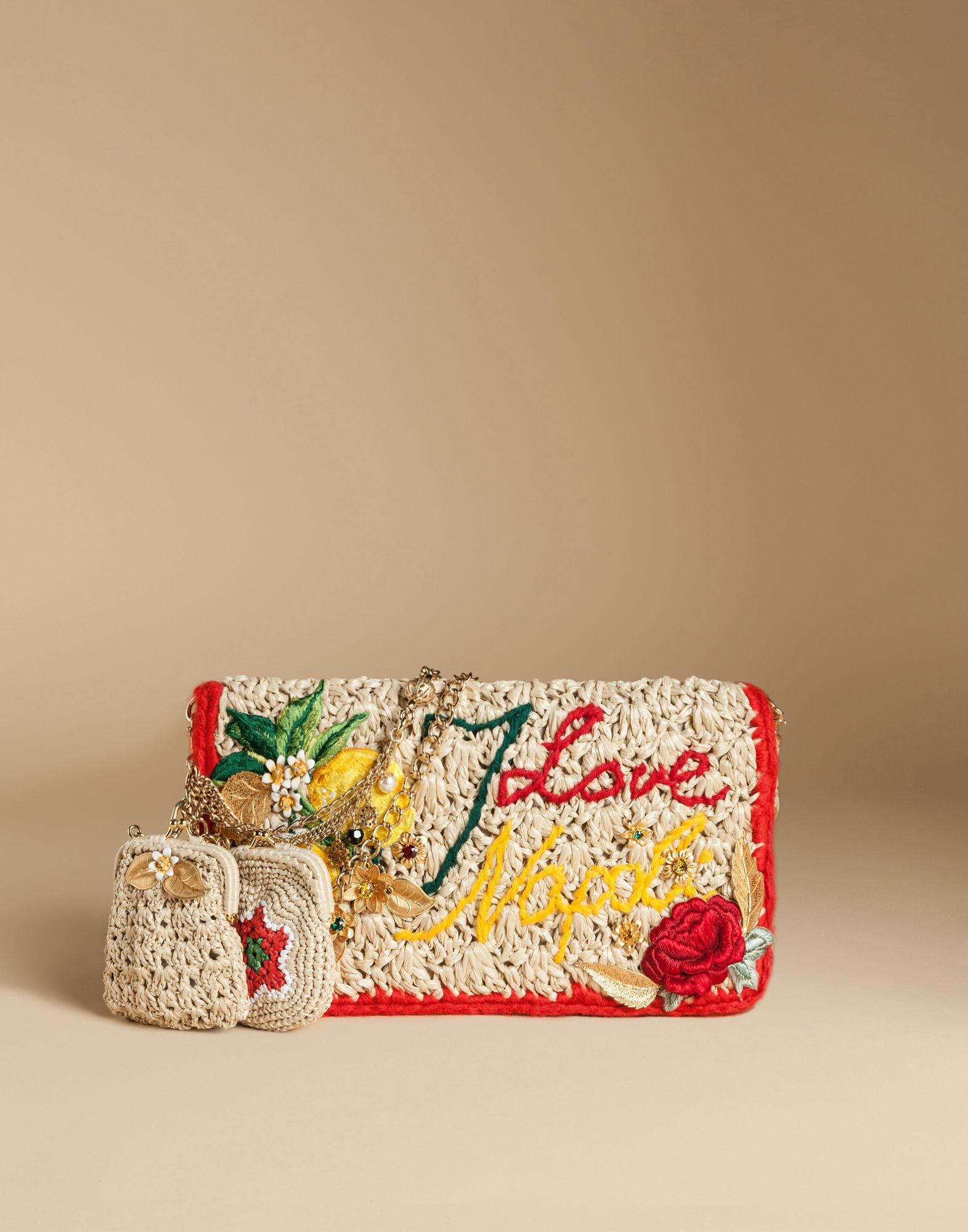 e69a81c00a Dolce   gabbana rosa raffia bag with embroidery and appliqués
