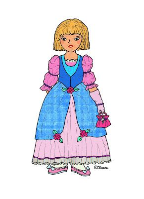 Karen`s Paper Dolls: Stephanie Paper Doll Princess Dressed to Print in Colours. Stephanie påklædningsdukke prinssesse klædt på til at printe i farver.