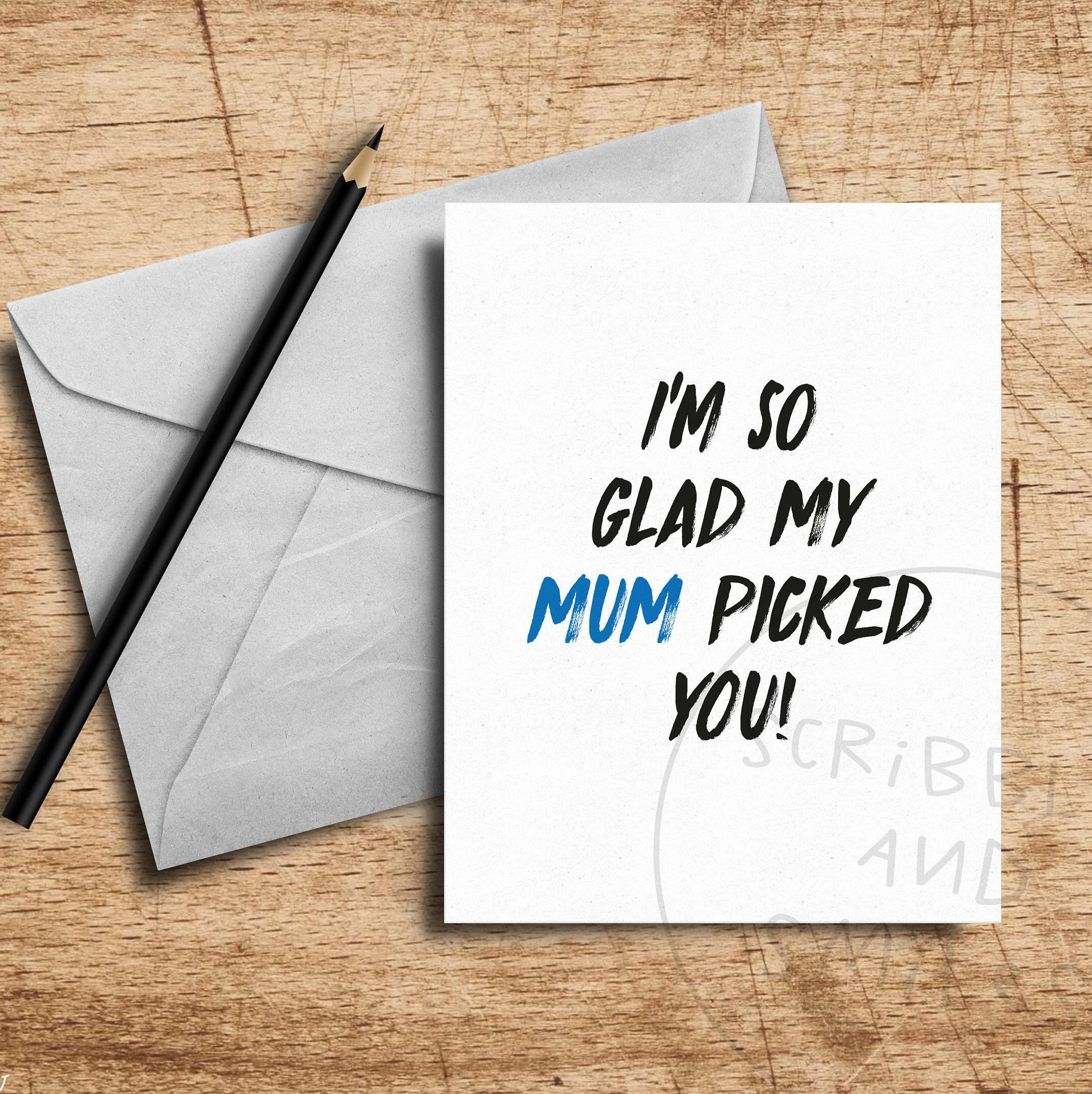 Im So Glad Mum Picked You Greeting Card Fathers Day Card