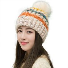adac906aab123 Women s Winter Slouchy Knitted Hat Fleece Lined Cable Faux Fur Pom Beanie  Hat Striped Pompom Hats Teenager Girl AA10059(China)