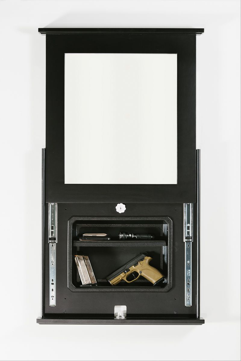 1410: Black Frame w/ Mirror Cover (Open) and Black Insert | storage ...