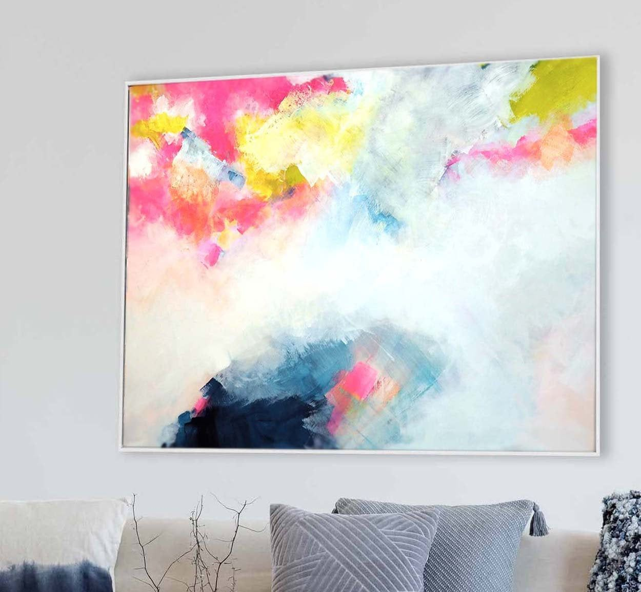 Blush Indigo Landscape Abstract Print Embellished Canvas Etsy Abstract Abstract Wall Art Abstract Print