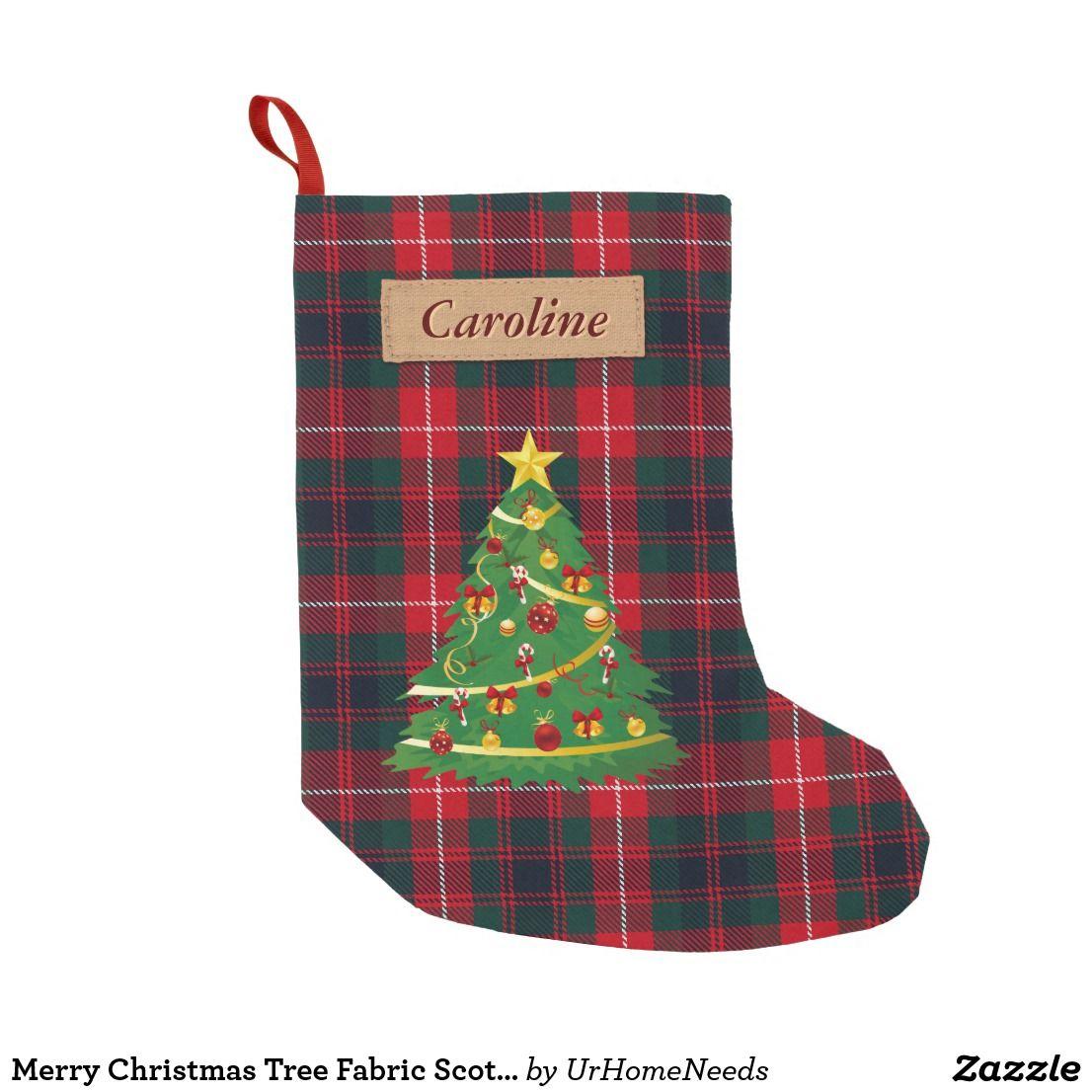 Merry Christmas Tree Fabric Scottish Plaid Tartan Small Christmas ...
