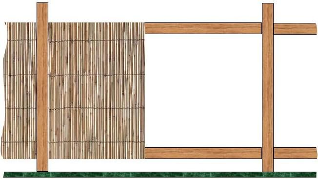 bamboo fence frame partially covered with Bamboo reeds | Garden ...