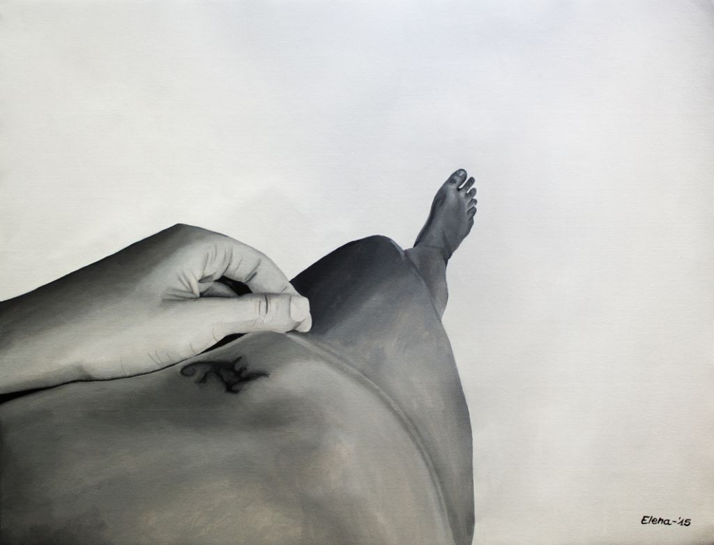 Laying on the bed _1 - Acrylic on Canvas - 45 x 60,5 cm