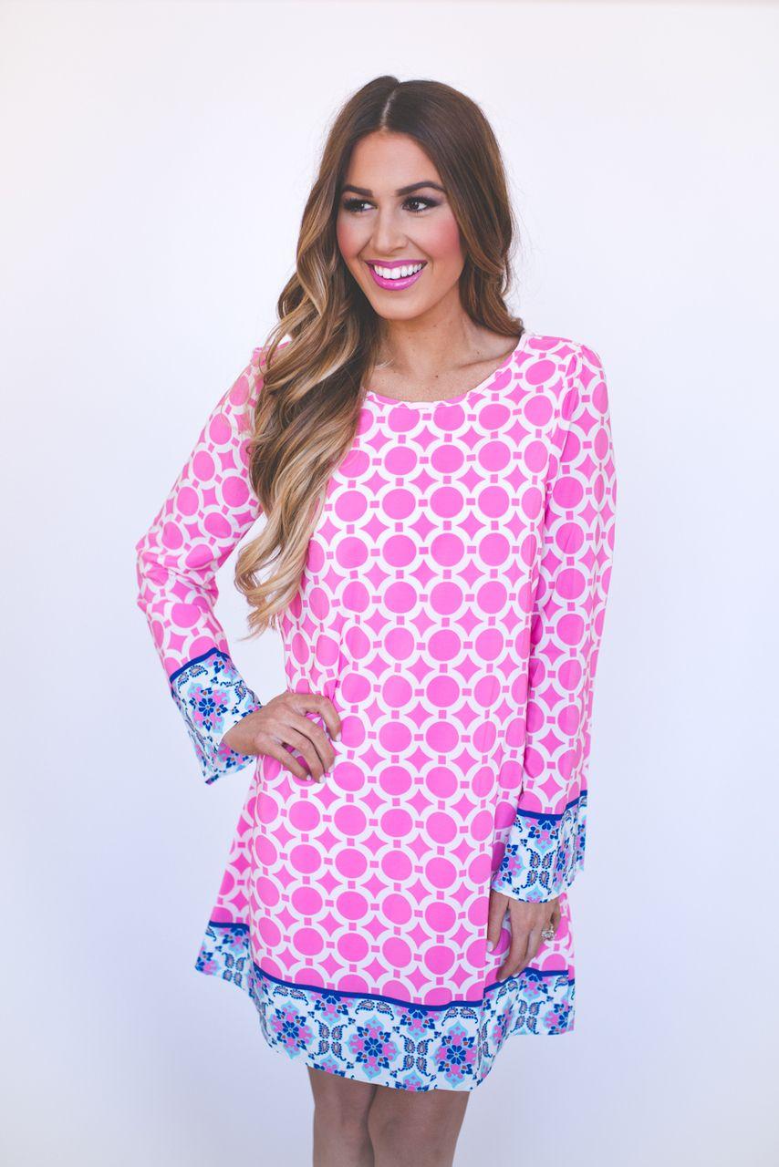 Dottie Couture Boutique - Circle Print Dress- Pink/Blue , $52.00 (http://www.dottiecouture.com/circle-print-dress-pink-blue/)