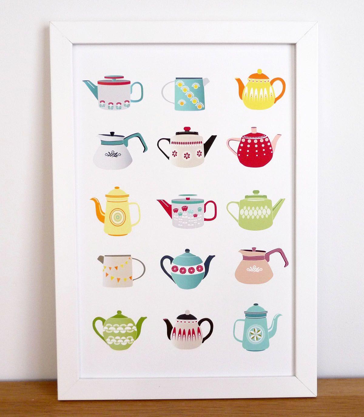 Teapots art print kitchen wall art kitchen teapots teapot