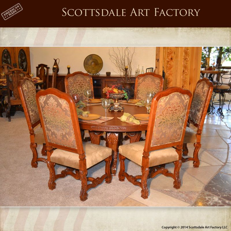 Hand Carved Solid Cherry Round Dining Table 7 Piece Matched Grain