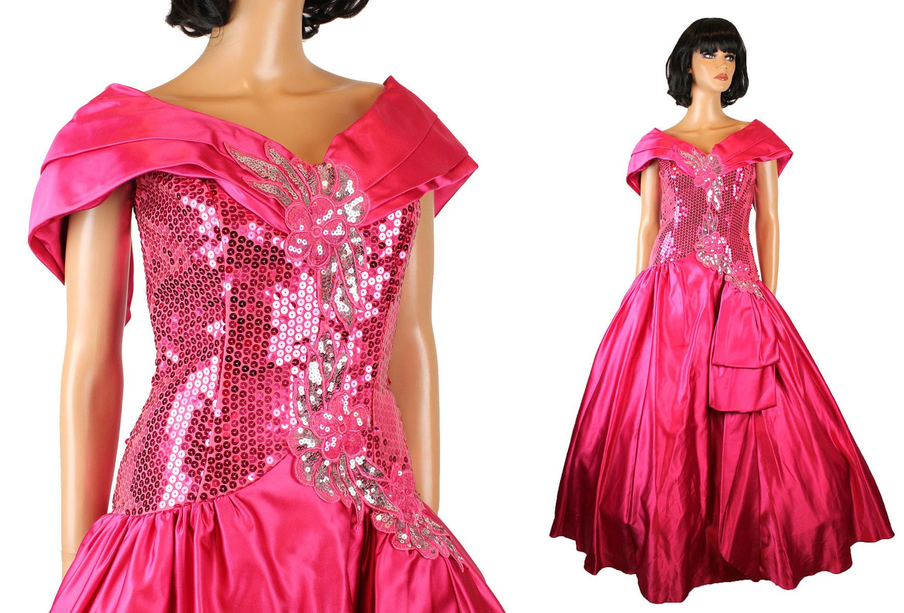 S prom dress sz vintage long dark pink silver sequin satin