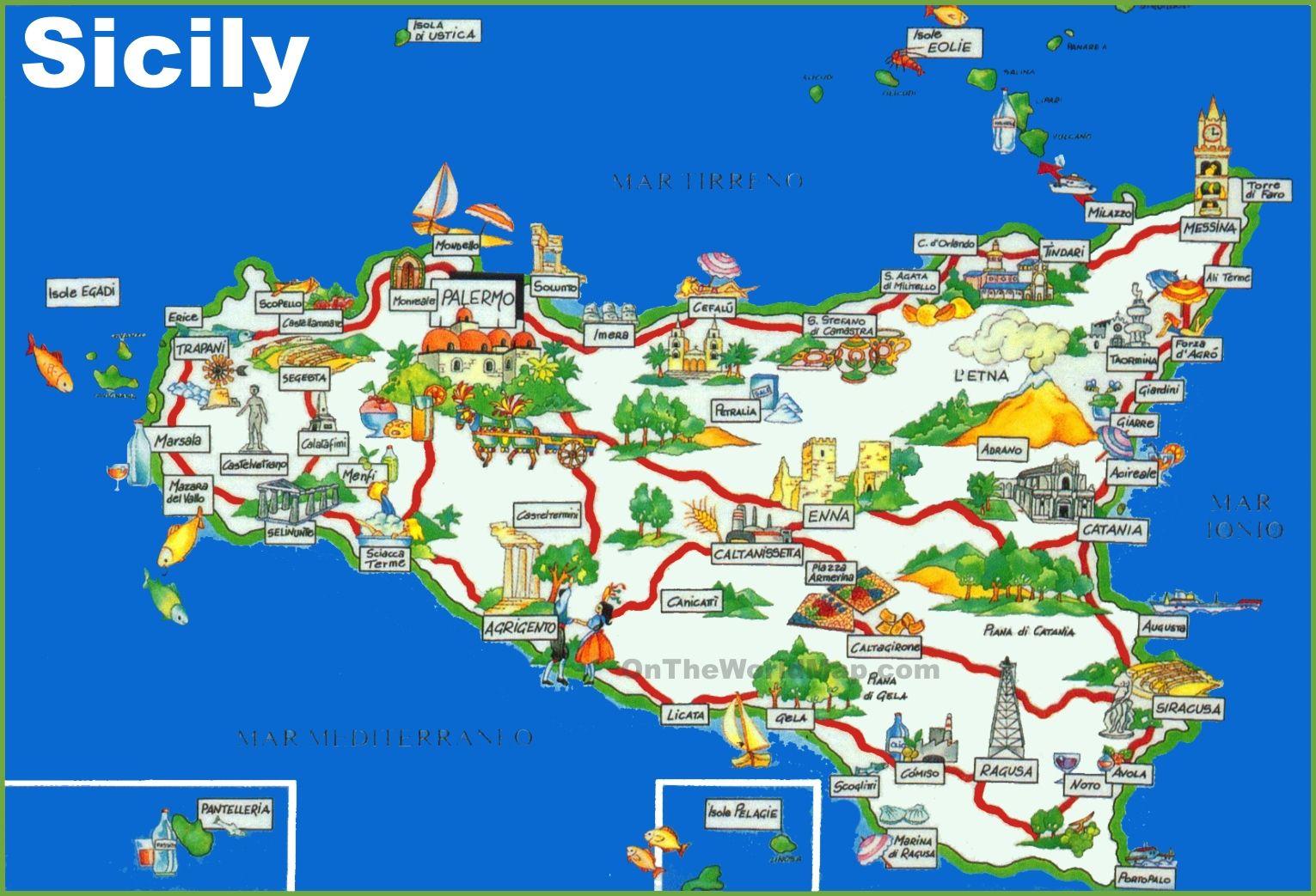 Sicily tourist map | Sicily 2018 | Tourist map, Sicily, Italy
