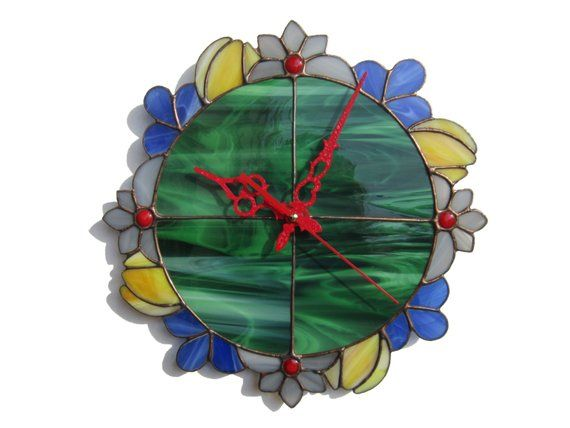 Unique Flower Wall Clock Decorative Green Wall Clock With Etsy Floral Wall Clocks Green Wall Clocks Boho Wall Art