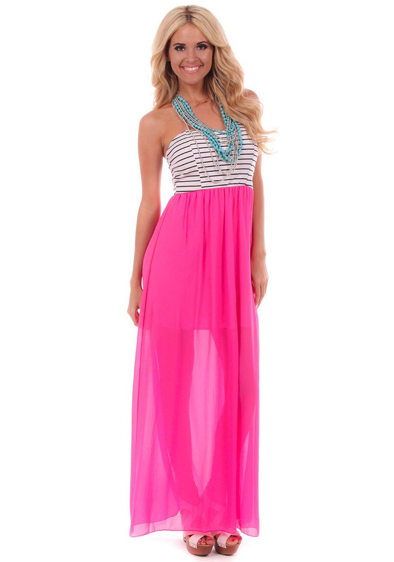 4f93b930370 Lime Lush Boutique - Hot Pink Stripe Chiffon Maxi Dress , $42.99 (http:/