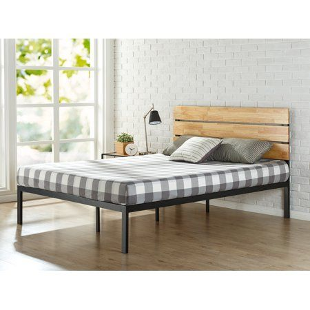 Zinus Paul Metal Amp Wood Platform Bed Twin Contemporary