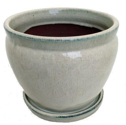 """Fishbowl Glazed Ceramic Pot/Saucer - Beige - 7.25"""""""" x 6.25"""""""" with Felt Feet"""