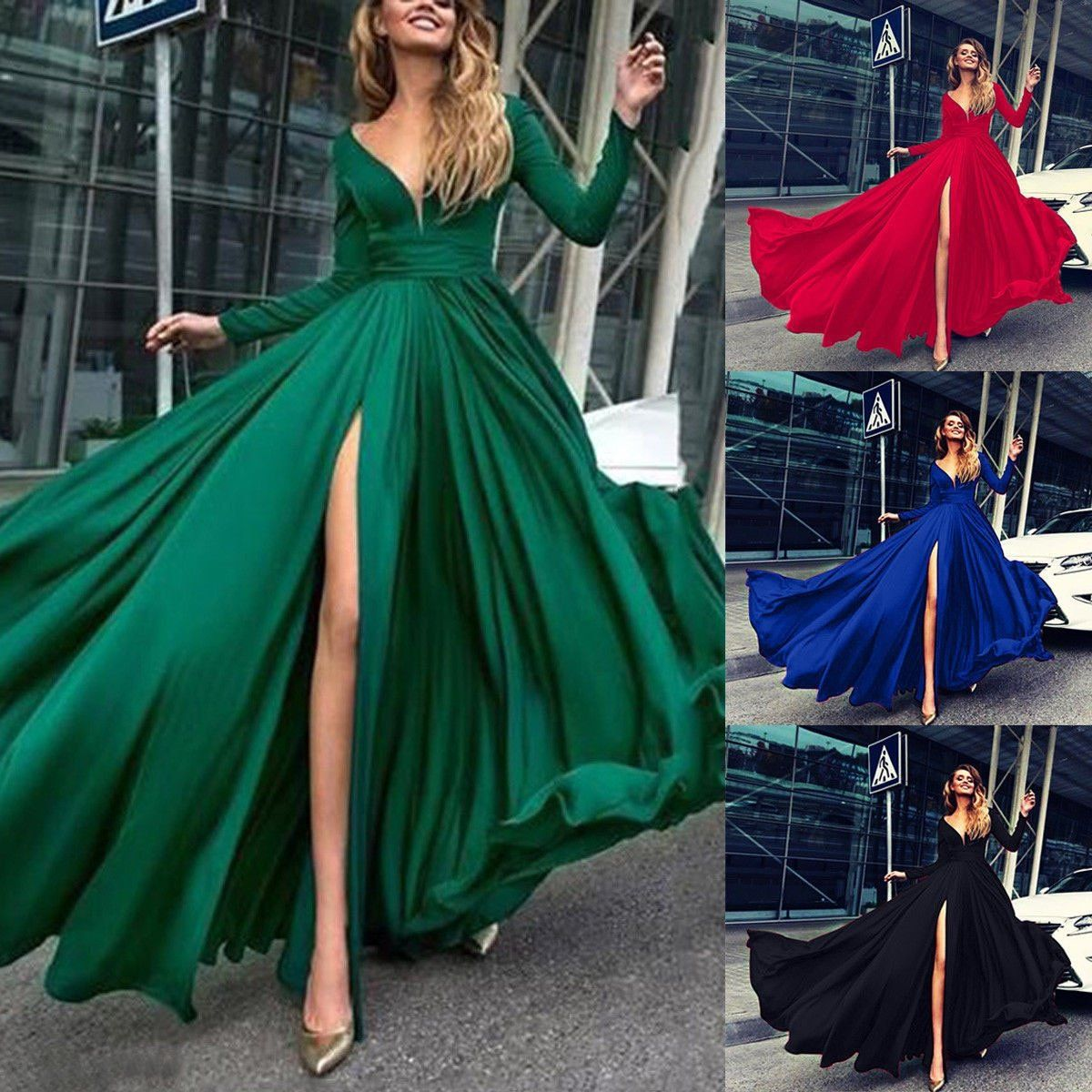 Nituyy New Summer Boho Women Vintage Elegant Long Sleeve Dress Evening Party Split Beach Dress Solid Color Casual Loose Sundress Walmart Com In 2021 Maxi Dress With Sleeves Long Sleeve [ 1200 x 1200 Pixel ]