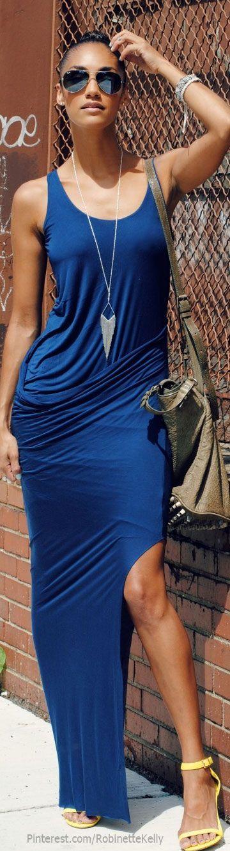H m cobalt blue dress and gold