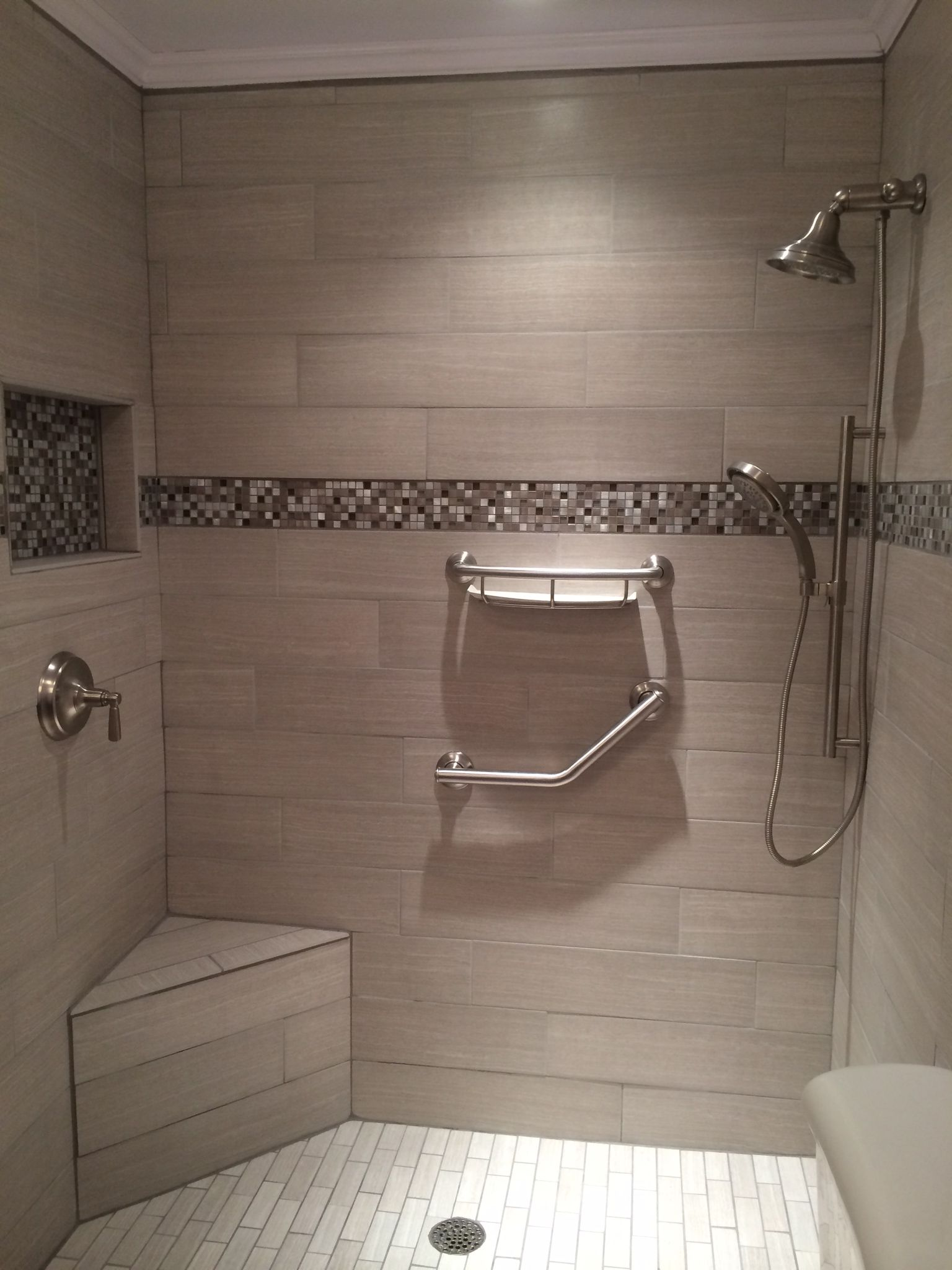 Gray tile shower with corner bench. Grey tile shower with corner ...