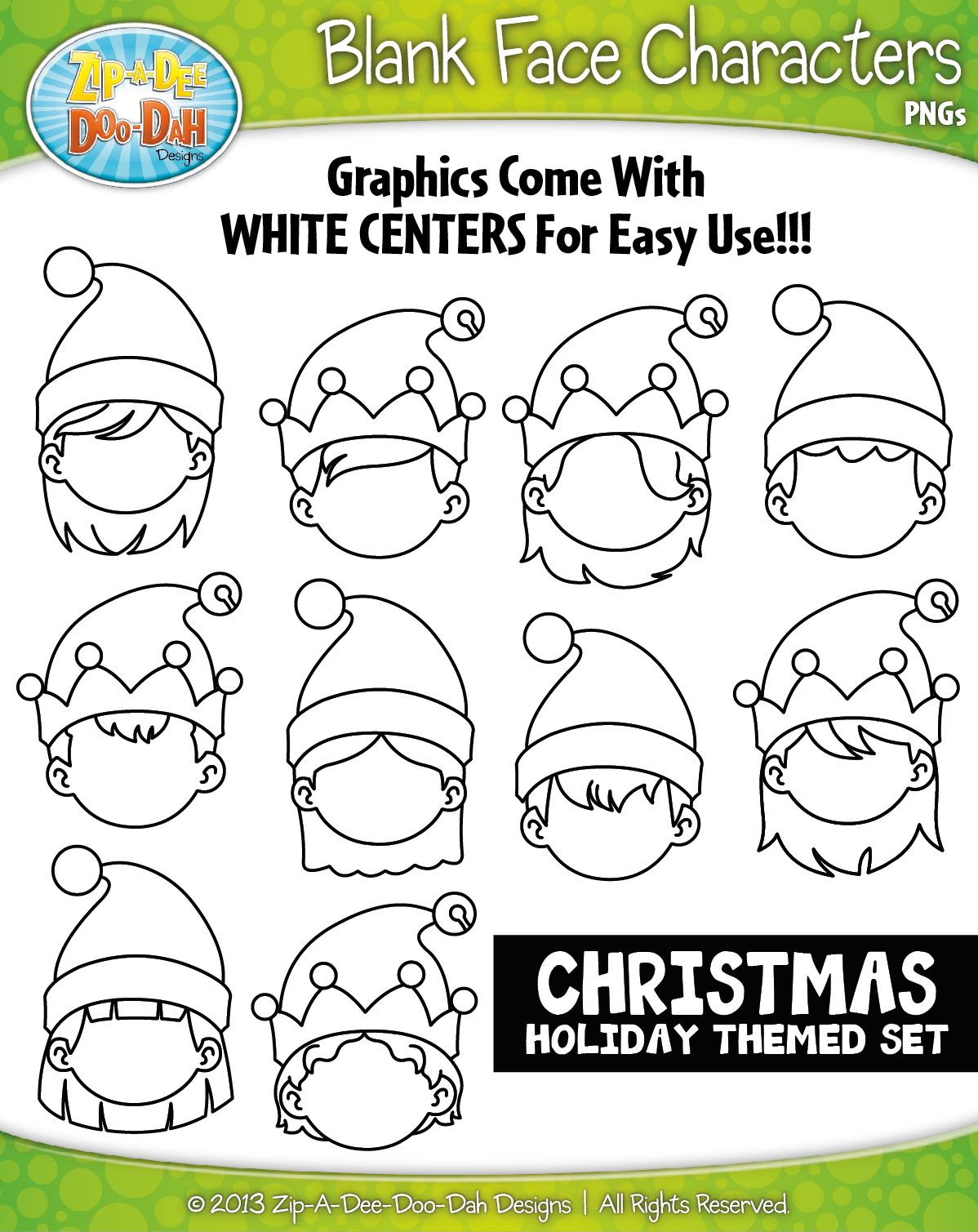 Christmas Elf Blank Face Characters Clipart Zip A Dee Doo