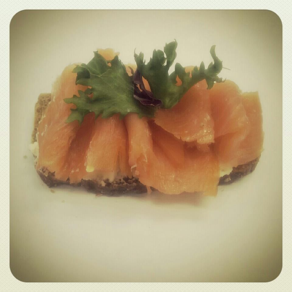 McCambridge brown bread with cream cheese, smoked salmon and some lettuce.