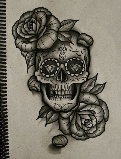 b3e67afc9 Candy skull and roses design <3 | Cool tattoo's | Tattoo sketches ...