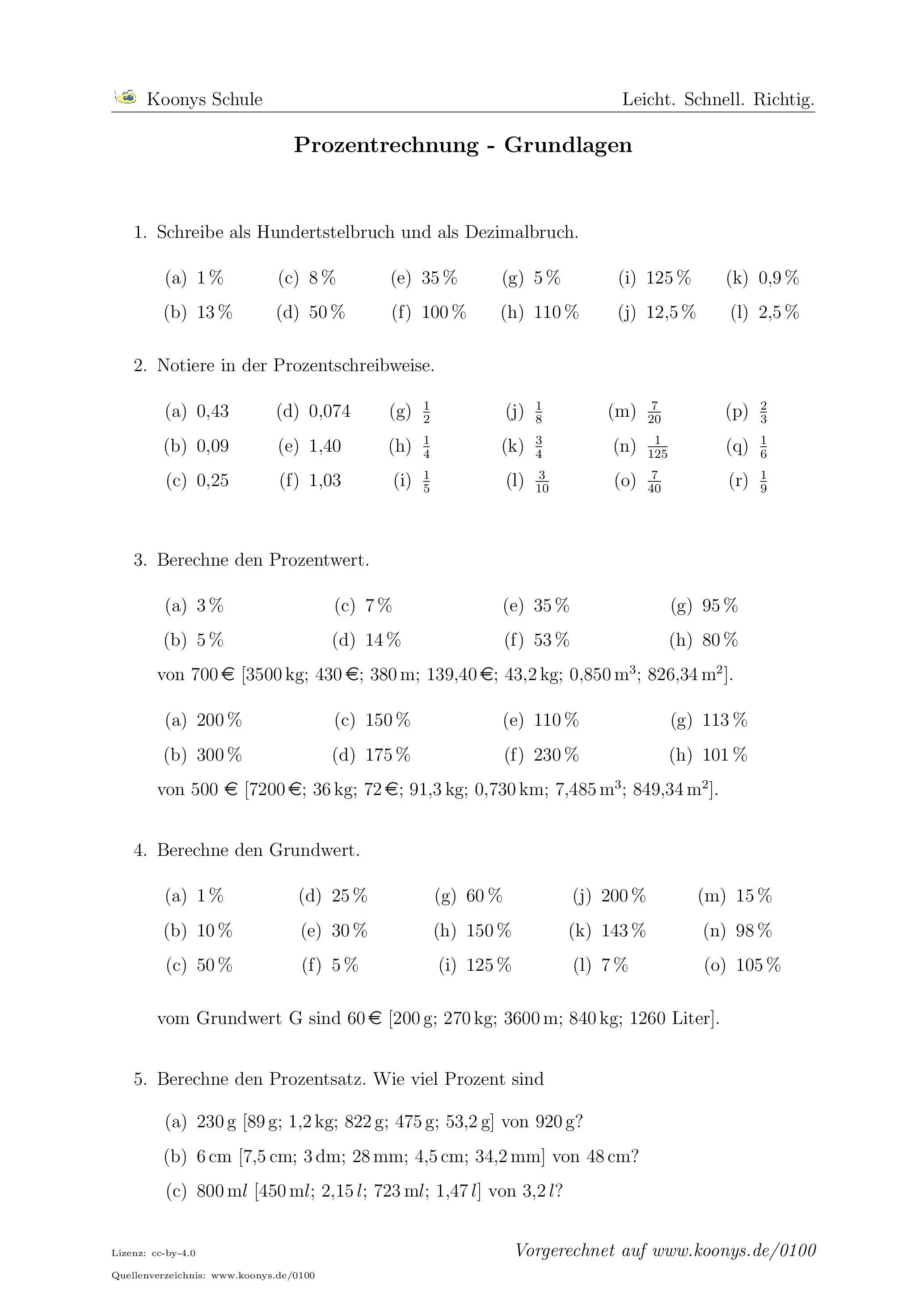 Prozentrechnung Grundlagen Arbeitsblatt 0100 Nachhilfe Mathe Mathe Formeln Arbeitsblatter Mathe