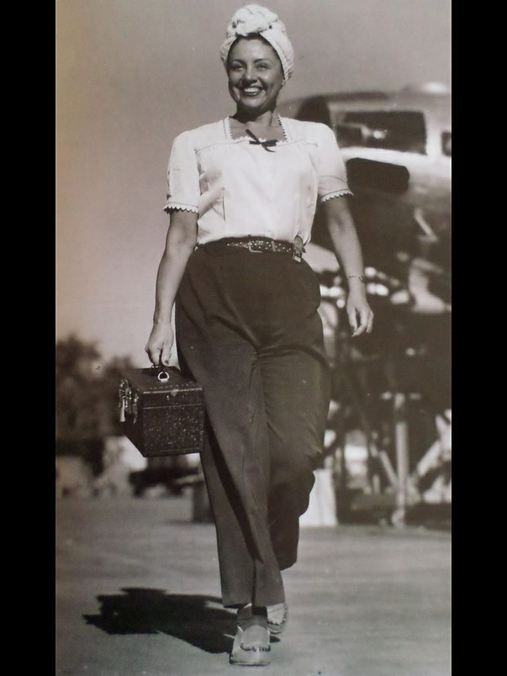 Post War Fashion Today 40s Fashion: 1940s Working Gal Casual Work Wear Pants Shirt Shoes