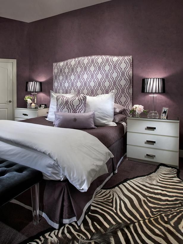 designers notes this contemporary bedroom was designed around a passion for the color purple and old - Gray Purple Bedroom