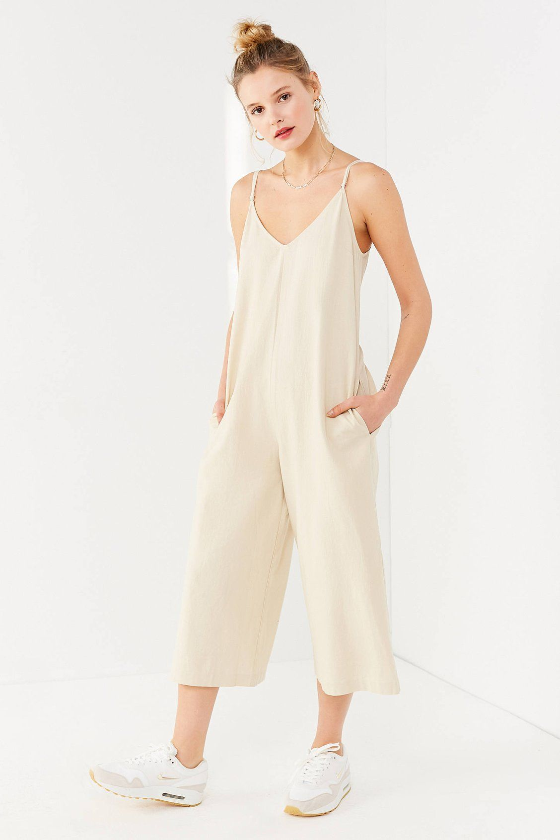 14462131b1 UO Shapeless Linen V-Neck Jumpsuit