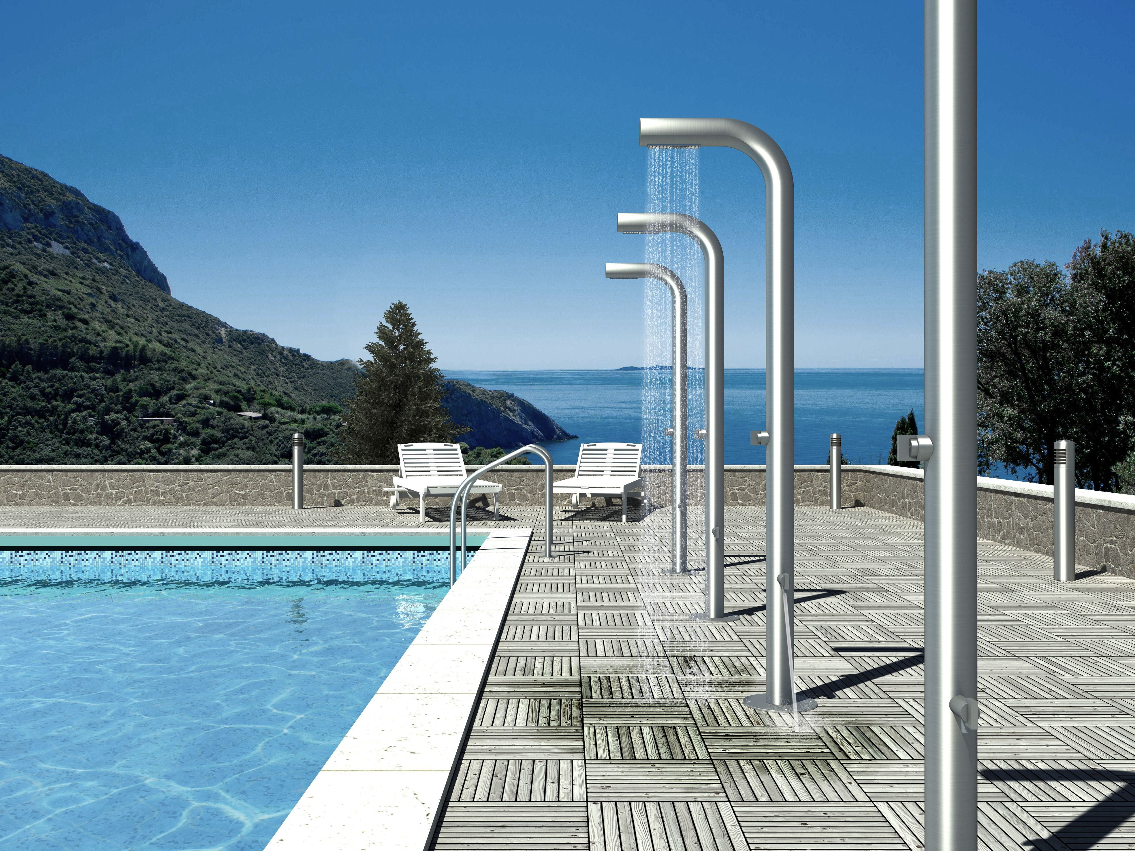 Bongio outdoor shower for swimming pool fun bathroom for Pool house with bathroom cost