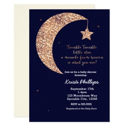Twinkle little star blue bronze moon baby shower card babies twinkle little star blue bronze moon baby shower card modern gifts cyo gift ideas personalize negle Choice Image