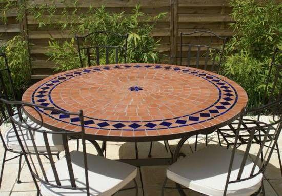 Table jardin mozaïque en fer forgé Table jardin mosaique ronde 130cm