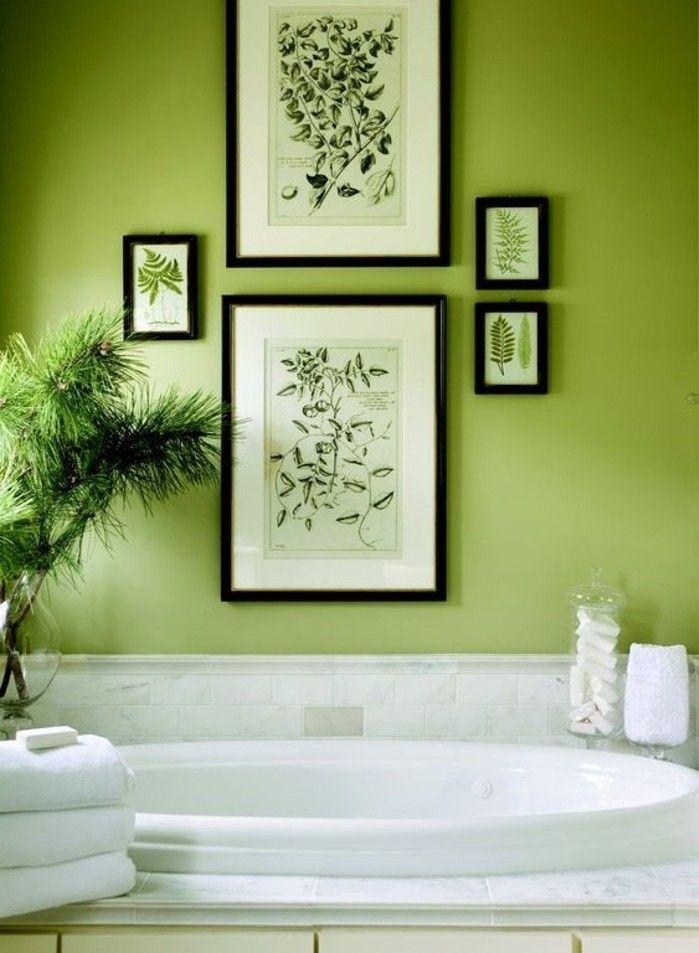 Sublime Idée Couleur Salle De Bain Verte, Baignoire à Encastrer, Déco  Florale, Paradis Zen