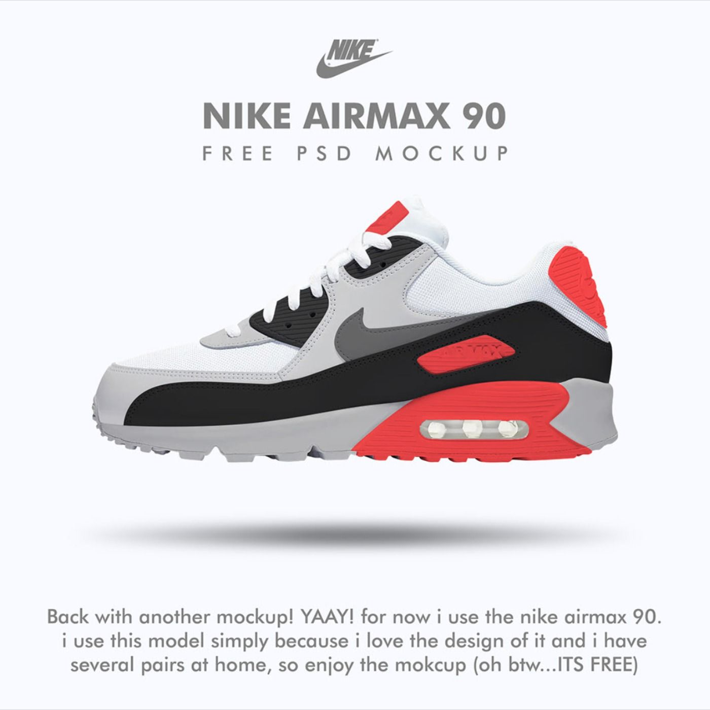 Nike Airmax 90 Free Psd Mockup Mockup Free Psd Mockup Psd Free Psd