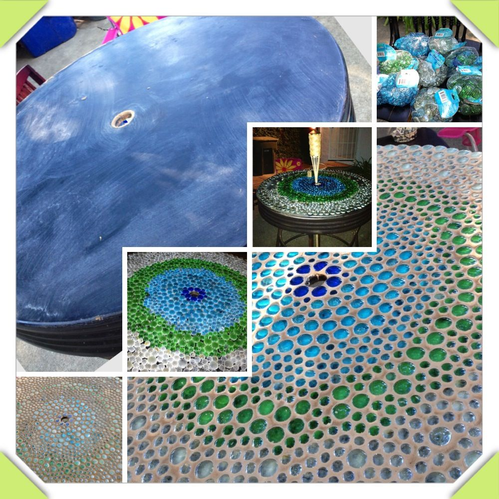 Diy Glass Tile Table Made From Dollar Tree Glass Beads Set Beads